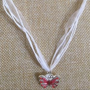 Butterfly necklace, red and white, new!